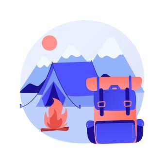 Ilustración de concepto abstracto de campamento de verano