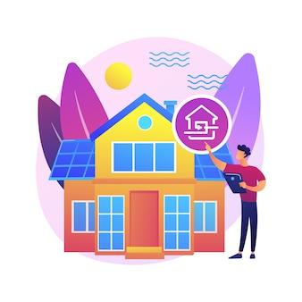 Ilustración de concepto abstracto de casa pasiva. estándares de casa pasiva, eficiencia de calefacción, reducción de huella ecológica, tecnología de ahorro de energía, hogar sostenible.