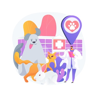 Ilustración de concepto abstracto de clínica veterinaria. hospital veterinario, cirugía, servicios de vacunación, clínica de animales, atención médica para mascotas, servicio veterinario, equipo de diagnóstico