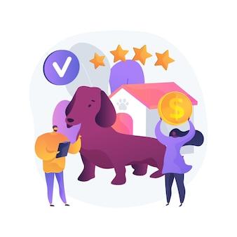Ilustración de concepto abstracto de club de raza. exposición de razas caninas, estándar superior para perros, compra de mascotas de raza pura, servicio de entrenamiento profesional, club felino, miembro de la asociación de perreras