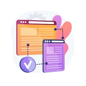 Ilustración de concepto abstracto de compatibilidad entre navegadores