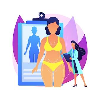 Ilustración de concepto abstracto de contorno corporal. corrección corporal plástica no quirúrgica, tecnología de contorneado, reducción, servicio de tratamiento estético, procedimiento no invasivo.