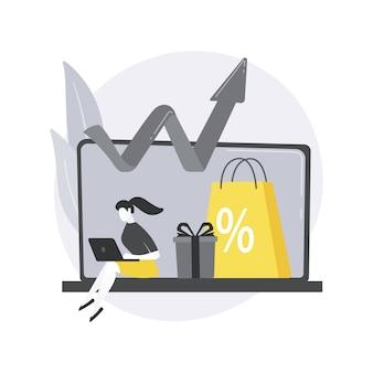 Ilustración de concepto abstracto de crecimiento de ventas.