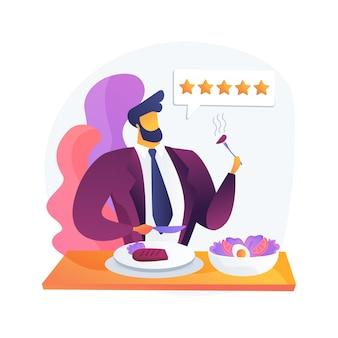 Ilustración de concepto abstracto de crítico de alimentos. analizar comida, chef de restaurante, escribir reseña, calificación, opinión de experto, espectáculo culinario, invitado encubierto, guía de viaje