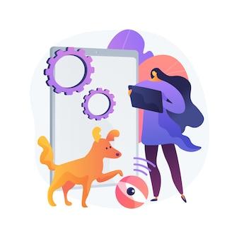 Ilustración de concepto abstracto de cuidadores de mascotas robóticos. robot cuidador de mascotas, entretenimiento interactivo, vigilancia, solución robótica para el cuidado de animales en el hogar, servicio de control inteligente