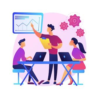 Ilustración del concepto abstracto de la cultura del lugar de trabajo. valores compartidos, sistemas de creencias, actitud en el trabajo, equipo de la empresa, cultura corporativa, alto desempeño, salud de los empleados.