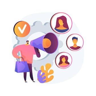 Ilustración de concepto abstracto de defensor de la marca. abogado de marca, marketing digital, internet, estrategia de promoción de marcas, creación de imagen positiva, comentarios en redes sociales