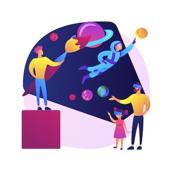 Ilustración de concepto abstracto de desarrollo de mundo virtual. realidad generada por computadora, mundo virtual, desarrollo de entornos simulados, creación de experiencias de usuario, diseño de realidad virtual.
