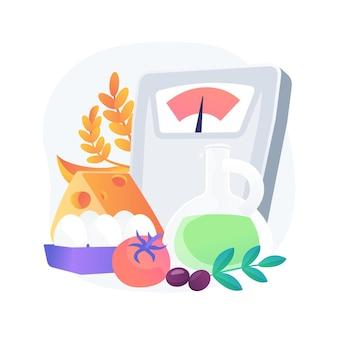 Ilustración de concepto abstracto de dieta mediterránea. programa de dieta saludable, menú mediterráneo, plan nutricional, cocina casera, alimentos orgánicos, ingredientes frescos, lista de compras