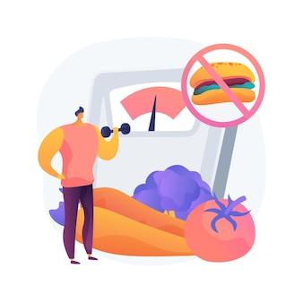 Ilustración de concepto abstracto de dieta de pérdida de peso. dieta baja en carbohidratos, comida saludable, ideas para menús ricos en proteínas, beber agua, receta saludable, plan de comidas, transformación corporal