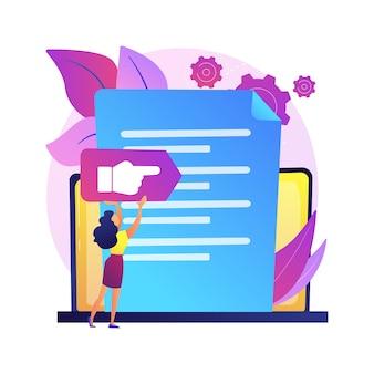 Ilustración del concepto abstracto del documento de visión y alcance. declaración de visión, documento de alcance, plan principal, gestión de proyectos, análisis de negocio de software, idea y objetivo.