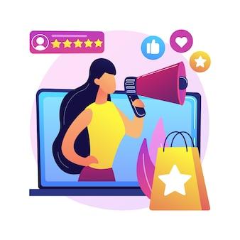 Ilustración de concepto abstracto de embajador de marca. representante oficial de marca, embajador de marca registrada, estrategia de marketing, figura mediática, persona de relaciones públicas, influencer
