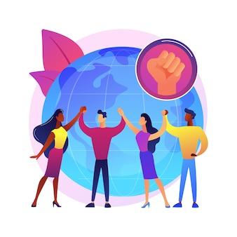 Ilustración de concepto abstracto de empoderamiento juvenil. los niños y jóvenes se hacen cargo, actúan, mejoran la calidad de vida, la construcción de la democracia, el activismo juvenil, la participación.