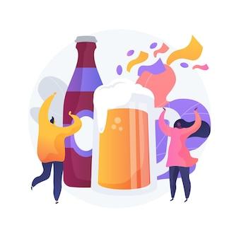 Ilustración de concepto abstracto de fiesta de la cerveza. elaboración de cerveza en la calle, festival de cerveza y música, diversión al aire libre, bebida artesanal, fiesta en la calle, evento social, disfrute del entretenimiento