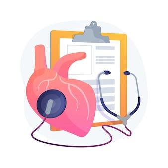 Ilustración de concepto abstracto de hipertensión. problema cardiológico, presión arterial alta, dispositivo de medición, diagnóstico del nivel de colesterol, causa de hipertensión, ambulancia