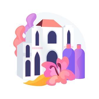 Ilustración de concepto abstracto de hotel de bienestar y spa