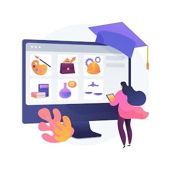 Ilustración del concepto abstracto de inscripción al curso. inscríbase en un curso, solicite un programa de grado, agregue al plan de estudio, sistema de inscripción en línea, formulario de inscripción, nuevo estudiante