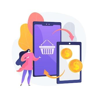 Ilustración de concepto abstracto de intercambio de dispositivos móviles