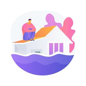Ilustración del concepto abstracto de inundación. desastre natural, flujo de agua, lluvias torrenciales, ciclón tropical y tsunami, lago desbordado, contaminación del agua, cambio climático