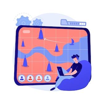 Ilustración de concepto abstracto de juegos de estrategia en línea