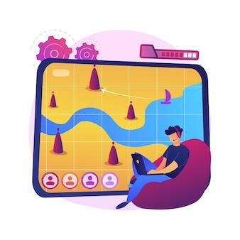 Ilustración de concepto abstracto de juegos en línea de estrategia. juegos de pc, guerra multijugador en tiempo real, juego de estrategia móvil, mouse mmog, navegador de rol, multijugador masivo en línea.