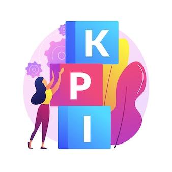 Ilustración de concepto abstracto de kpi. indicador clave de rendimiento, medición del éxito, crecimiento de la empresa, efectividad empresarial, herramienta de análisis, gestión financiera, kpi.