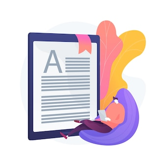 Ilustración de concepto abstracto de lectura digital. libro de texto de aula electrónica, educación moderna, dispositivo móvil, contenido rico en medios, enlaces rápidos, documento electrónico, multitarea