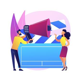 Ilustración de concepto abstracto de llamada de casting. convocatoria abierta para modelos, rodajes comerciales, casting de fotos y videos, solicitud de agencia de modelos, audición para publicidad de marca.