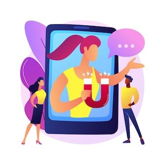 Ilustración de concepto abstracto de marketing de boca en boca. publicidad boca a boca, estrategia de recomendaciones, influencer en redes sociales, ventas por referidos, lealtad a la marca