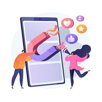 Ilustración de concepto abstracto de marketing de compromiso. marketing en internet, gestión del compromiso, participación activa, comercio online, estrategia smm, contenido interactivo