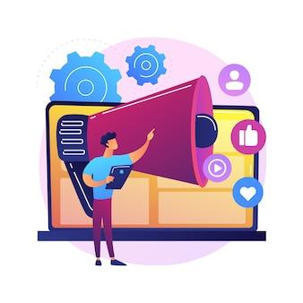 Ilustración de concepto abstracto de marketing online. marketing digital, venta online, estrategia en redes sociales, optimización seo, ecommerce, servicio de agencia, publicidad en internet