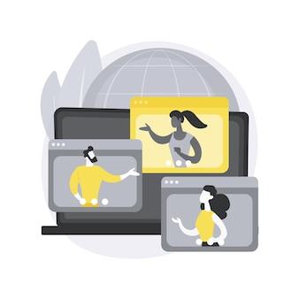 Ilustración de concepto abstracto de meetup en línea.