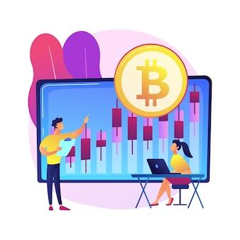 Ilustración de concepto abstracto de mesa de comercio de criptomonedas. plataforma de futuros de bitcoin, servicio de intercambio de criptomonedas, negocios de tecnología financiera, enrutamiento inteligente de pedidos.
