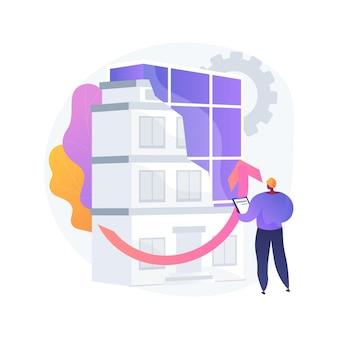 Ilustración de concepto abstracto de modernización de edificios antiguos. servicio de construcción, soluciones de modernización de la construcción, aislamiento de edificios históricos, equipo de diseño