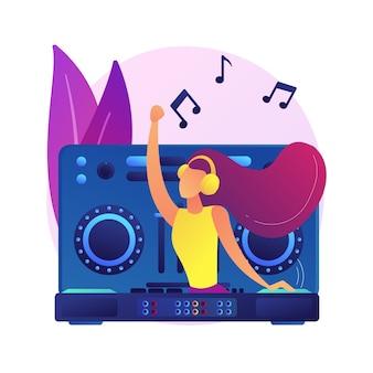 Ilustración de concepto abstracto de música electrónica. set de dj, curso escolar, presentación en vivo de libros, géneros de música electrónica, fiesta en un club nocturno, festival al aire libre, cultura rave
