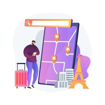 Ilustración de concepto abstracto de navegador de tour