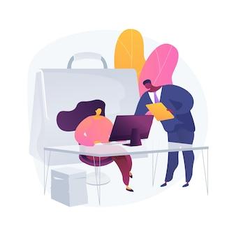Ilustración de concepto abstracto de pasantía. oportunidad de pasantía remunerada, crecimiento profesional, trabajo recién graduado de la universidad, encontrar el primer lugar de trabajo, trabajo de capacitación para estudiantes