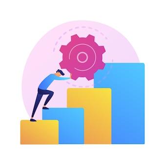 Ilustración del concepto abstracto de persistencia. perseverancia, calidad personal, acción persistente, motivación en el deporte, perseverancia empresarial, determinación para alcanzar la meta.