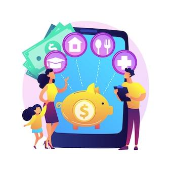 Ilustración de concepto abstracto de planificación de presupuesto familiar. mejores decisiones económicas, estrategia de presupuesto personal, gestión de ingresos y gastos familiares, plan financiero del hogar.