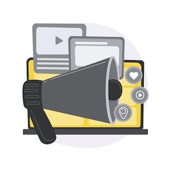 Ilustración de concepto abstracto de pr digital. estrategia de relaciones públicas basada en internet, gestión de la reputación.
