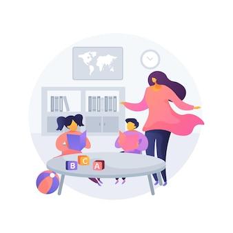Ilustración de concepto abstracto preescolar montessori. jardín de infancia montessori, programa preescolar, educación temprana, guardería privada, método de desarrollo infantil