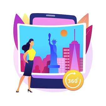 Ilustración de concepto abstracto de recorrido virtual. visitas web, caminata de realidad virtual, desarrollo de software, experiencia en línea, visita a distancia, colección de museo de arte.