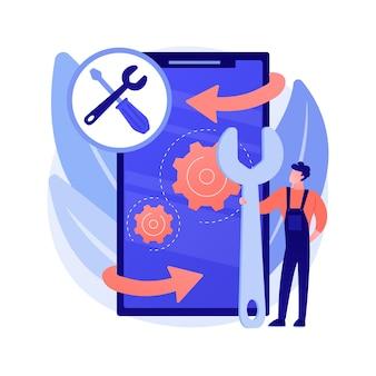 Ilustración de concepto abstracto de reparación de dispositivos móviles