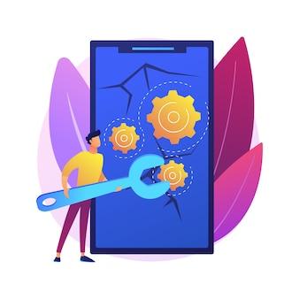 Ilustración de concepto abstracto de reparación de smartphone. reparación de teléfonos celulares, servicio de reparación urgente de teléfonos inteligentes, reemplazo de pantalla, recuperación de datos, taller de reparación de dispositivos electrónicos.