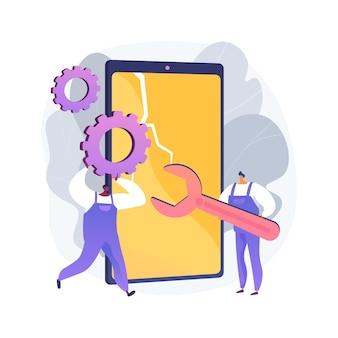 Ilustración de concepto abstracto de reparación de smartphone