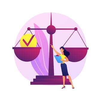 Ilustración del concepto abstracto de responsabilidad. responsabilidad legal, responsabilidad personal y pública, responsabilidad de acciones y decisiones, roles de liderazgo