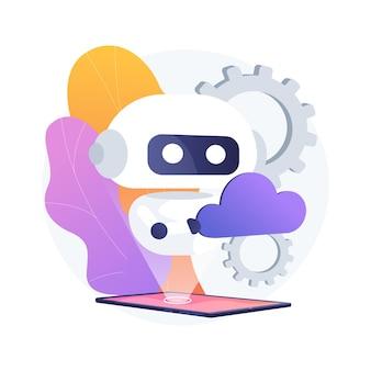 Ilustración de concepto abstracto de robótica de nube