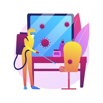 Ilustración de concepto abstracto de saneamiento de salones de belleza. peluquerías y salones de uñas, desinfectar completamente después de cada visita del cliente, suministros desechables, distancia social, limpiar la superficie