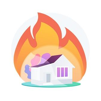 Ilustración de concepto abstracto de seguro contra incendios. seguro de propiedad contra incendios, pérdida económica por accidente, protección de pertenencias, póliza estándar, cobertura de daños, servicio estatal