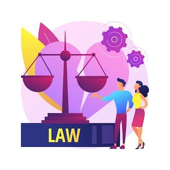 Ilustración de concepto abstracto de servicio de abogado de divorcio. abogado de familia, trámite de divorcio, asesoría de servicios legales, ayudas de bufete de abogados, manutención de menores, asesoría de escrituras patrimoniales vitalicias.